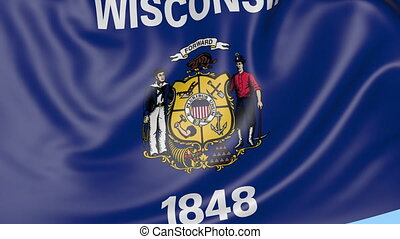 Waving flag of Wisconsin state against blue sky. Seamless loop