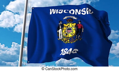 Waving flag of Wiskonsin