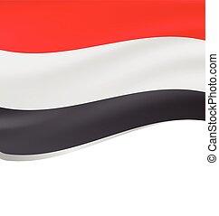 Waving flag of Yemen isolated on white