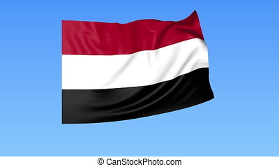 Waving flag of Yemen, seamless loop. Exact size, blue...
