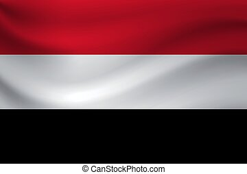 Waving flag of Yemen. Vector illustration