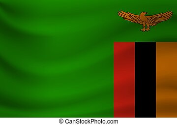 Waving flag of Zambia. Vector illustration