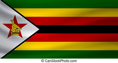 Waving flag of Zimbabwe. Vector illustration