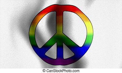 waving flag rainbow peace sign