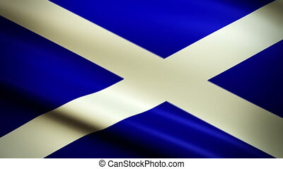 National flag of Scotland waving in the wind - background animation for home videos, vacation movies, business presentation and DVD or Blu-ray disc menus