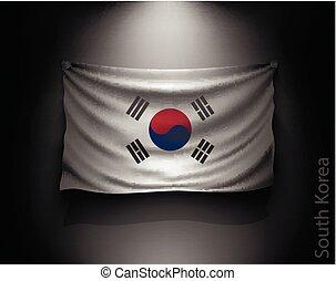 waving flag South Korea on a dark wall