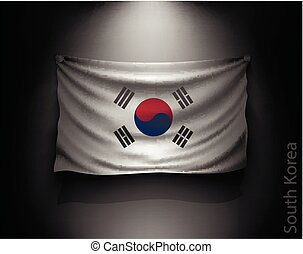 waving flag South Korea on a dark wall