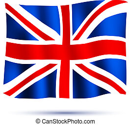 Waving flag Union Jack isolated on white background