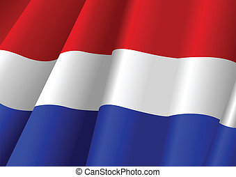 Waving Flag - Vector illustration of Netherlands flag