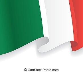 waving, flag., vetorial, fundo, italiano