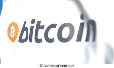 Waving flag with Bitcoin logo close-up, loopable 3D...