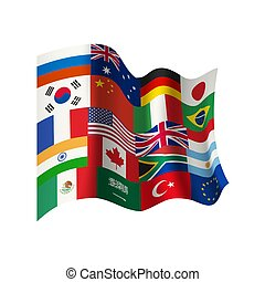 Waving flag with flags of different countries.