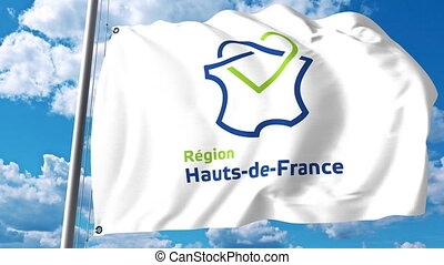 Waving flag with logo of Hauts-de-France a region of France...