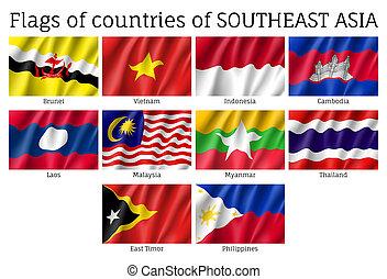 Waving flags of AEC members