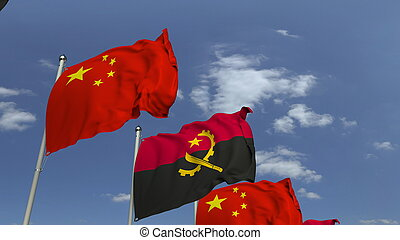 Waving flags of Angola and China, 3D rendering