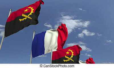 Waving flags of Angola and France, 3D rendering