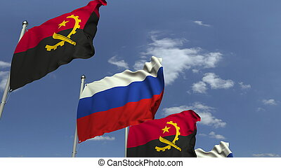 Waving flags of Angola and Russia, 3D rendering