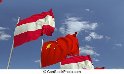 Waving flags of Austria and China on sky background, 3D rendering