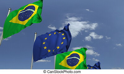 Waving flags of Brazil and the EU on sky background, 3D rendering