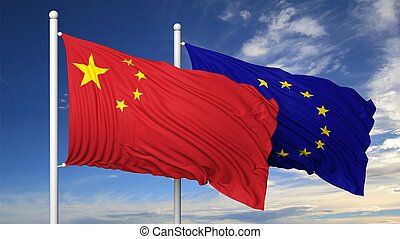 Waving flags of China and EU on flagpole, on blue sky...