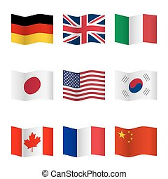 Waving flags of different countries.