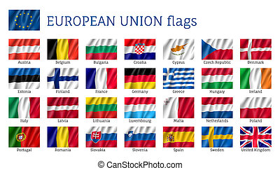 European Union flags. Set of waving flags: Austria, Finland, France and Germany, Estonia, Greece and Hungary, Norway. 25 ensigns of EU states. Isolated icons on white background
