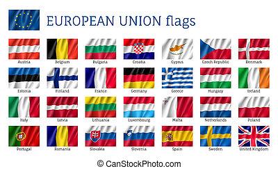 Waving flags of European Union - European Union flags. Set ...