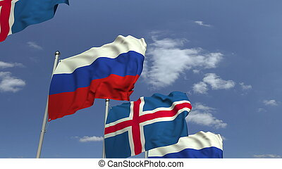 Waving flags of Iceland and Russia, 3D rendering