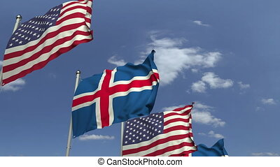 Waving flags of Iceland and the USA, loopable 3D animation