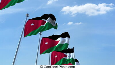 Waving flags of Jordan against the sky, loopable 3D animation