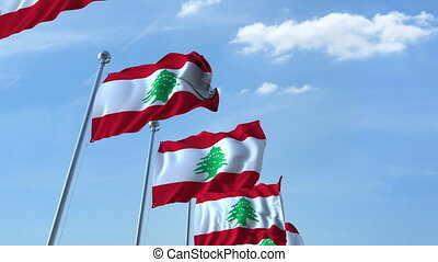 Waving flags of Lebanon against the sky, loopable 3D animation