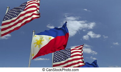 Waving flags of Philippines and the USA, loopable 3D animation