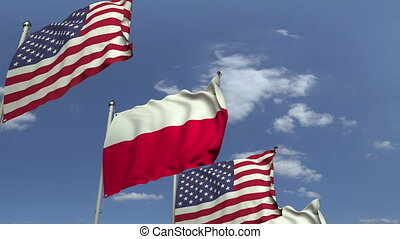 Waving flags of Poland and the USA, loopable 3D animation