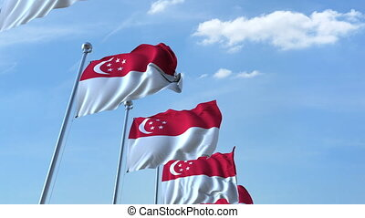 Waving flags of Singapore against the sky, loopable 3D animation