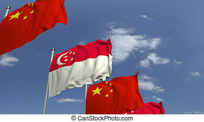 Waving flags of Singapore and China, 3D rendering