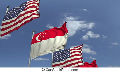 Waving flags of Singapore and the USA, loopable 3D animation