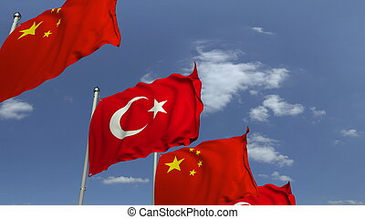 Waving flags of Turkey and China, 3D rendering