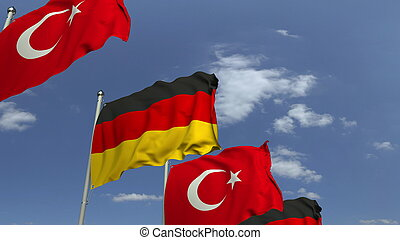 Waving flags of Turkey and Germany, 3D rendering