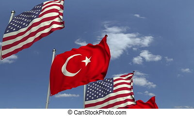 Waving flags of Turkey and the USA, loopable 3D animation