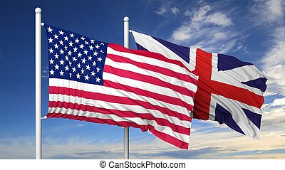 Waving flags of USA and UK on flagpole, on blue sky...
