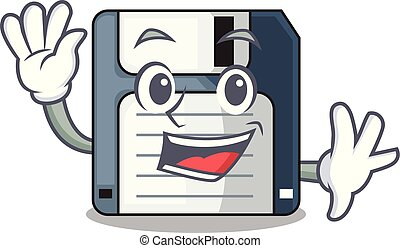 Waving floppy disk isolated with a mascot