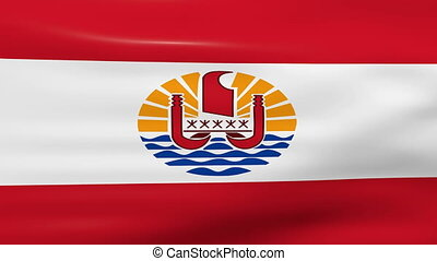 Waving French Polynesia Flag, ready for seamless loop.