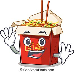 Waving friendly chinese box noodle cartoon character design