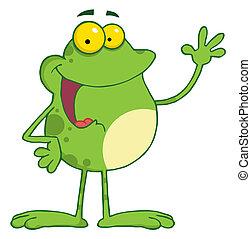 Frog Cartoon Mascot Character Waving A Greeting