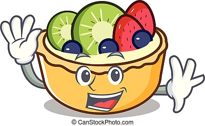 Waving fruit tart character cartoon