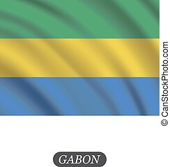 Waving Gabon flag on a white background. Vector illustration