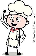 waving, garçom, -, mão, cozinheiro, vetorial, illustration?, macho, caricatura, gesto