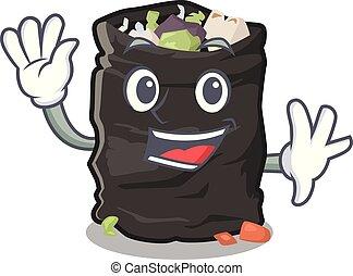 Waving garbage bag in the cartoon shape vector illustration