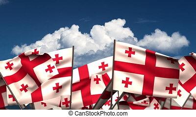 Waving Georgia Flags