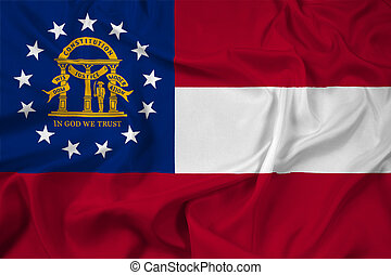 Waving Georgia State Flag